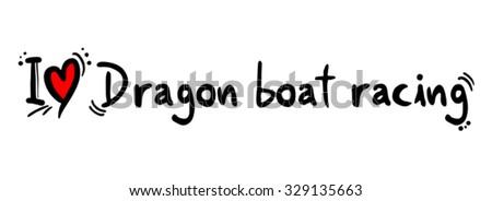 Dragon boat racing love - stock vector