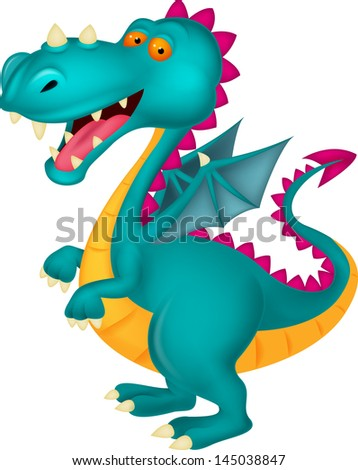 Dragon cartoon - stock vector