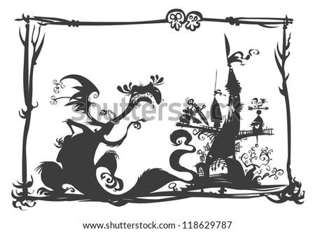Dragon, Castle and Knight Silhouette scene. - stock vector