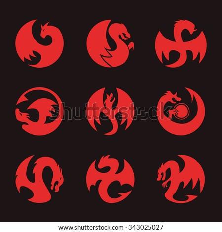 Dragon Circle Icon - stock vector
