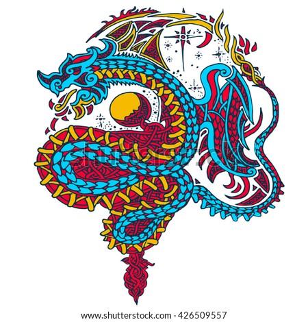 dragon color.print textile.pop art colors.lineart tattoo - stock vector