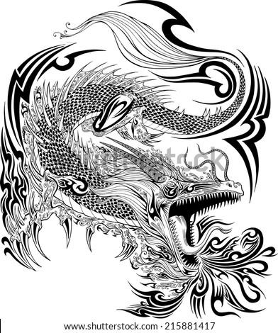 Dragon Doodle Sketch Tattoo Vector - stock vector