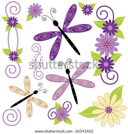 Dragon fly and flower vector. - stock vector