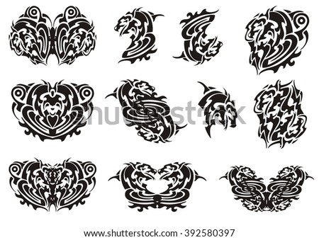 Dragon heart, dragon butterflies and other symbols. Tribal unusual dragon head twirled in a spiral form and the butterflies formed from her - stock vector