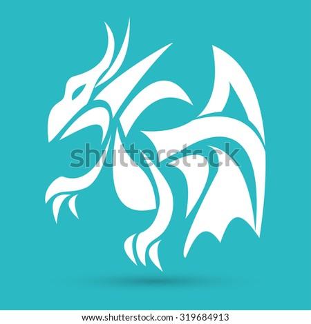 dragon icon - stock vector