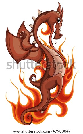Dragon in fire - stock vector