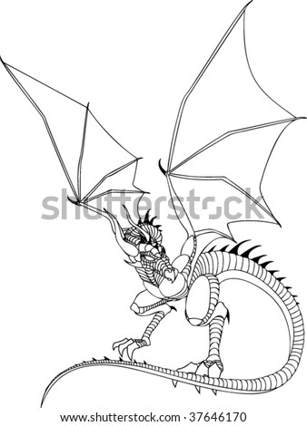 Dragon Line Drawing - stock vector