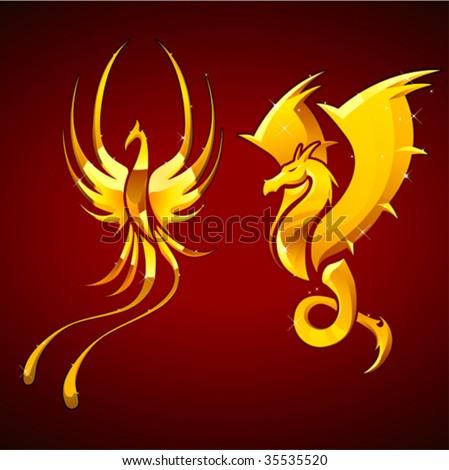 dragon & phoenix emblem - stock vector