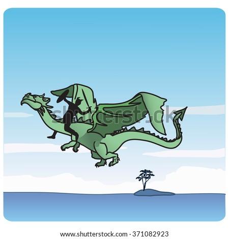 Dragon & Rider - stock vector