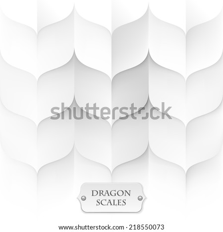 dragon scales, white background texture, eps10 vector - stock vector