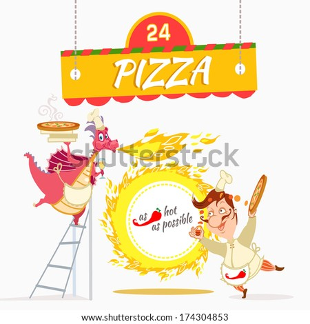 Dragon with italian chef cooking tasty pizza. Vector illustration with cute cartoon characters. - stock vector