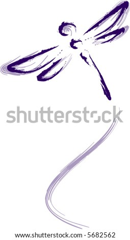 Dragonfly in flight - stock vector