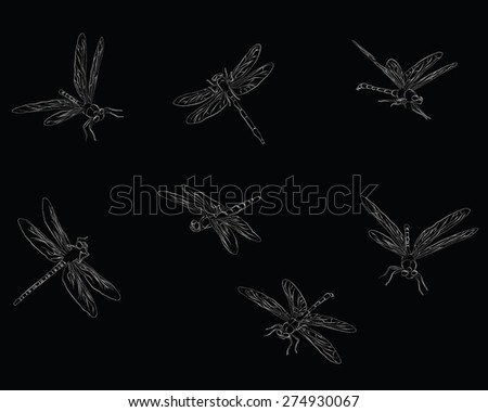 dragonfly pattern - stock vector