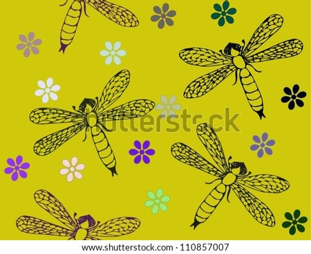 Dragonfly pattern for fabrics - stock vector