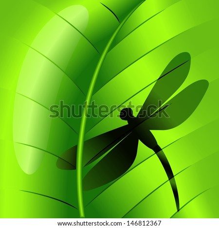 Dragonfly Shape on Green Leaf - stock vector