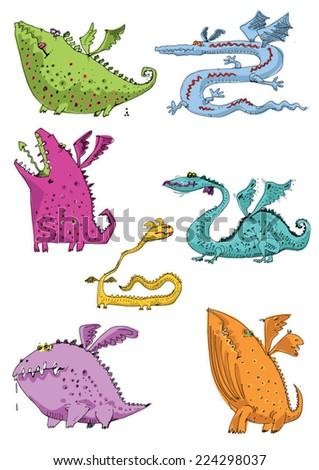 dragons - cartoon - stock vector