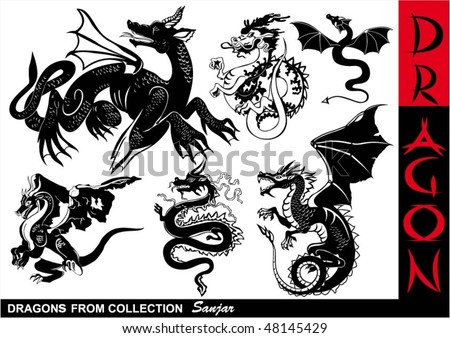 Dragons collection - stock vector