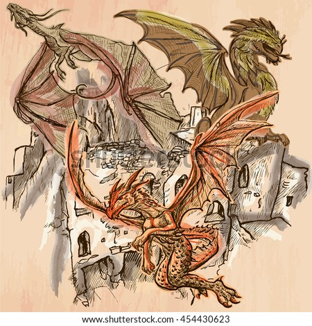 DRAGONS flying upon the old Castle, Ruins. Freehand sketching, line drawing. An hand drawn vector illustration. Colored background is isolated. Technique, colored line art. Vector is easy editable. - stock vector
