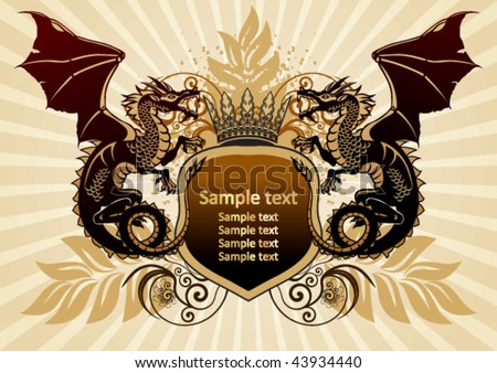Dragons Heraldry - stock vector