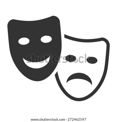 Drama and comedy acting masks flat icon - stock vector