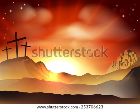 Dramatic Christian Easter concept of Jesus and the two thieves crosses on Calvary hill outside the city walls - stock vector