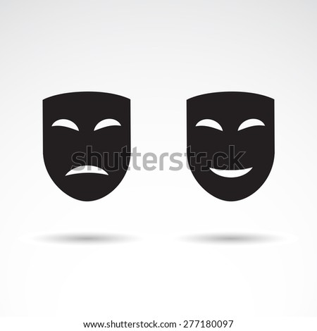 Dramatic masks - icons isolated on white background. Vector art. - stock vector