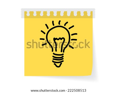 draw bulb on paper note - stock vector