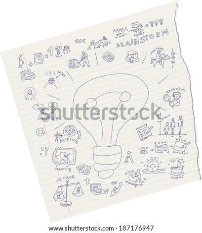 Draw ideas on paper - stock vector