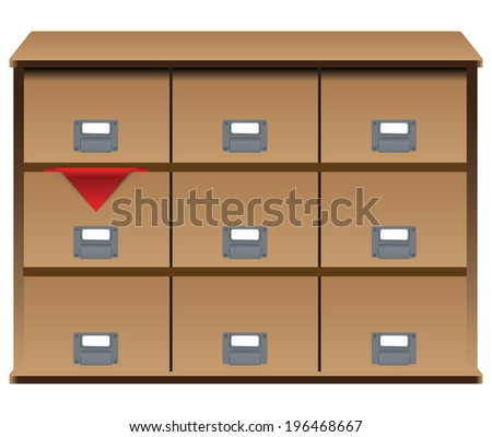 Drawer organizer with drawers and a red cloth in one of the boxes. Vector illustration. - stock vector