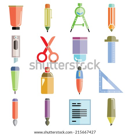 drawing and painting tools icons, flat theme design - stock vector