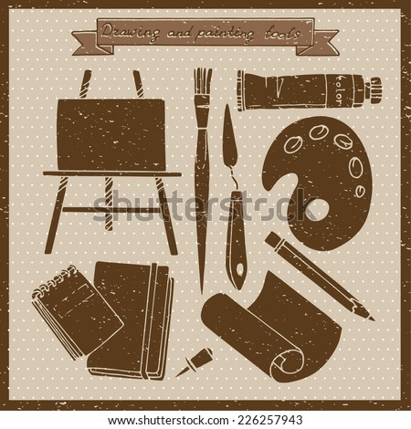 Drawing and painting tools. Vintage vector illustration with art materials and tools for drawing and painting. - stock vector