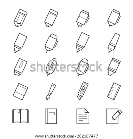 Drawing and Writing Painting Tools Icons - stock vector