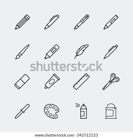Drawing and writing tools icon set in thin line style - stock vector