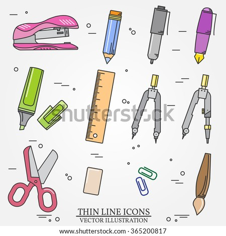 Drawing and writing tools icon thin line for web and mobile, modern minimalistic flat design. Vector dark grey icon on light grey background. - stock vector