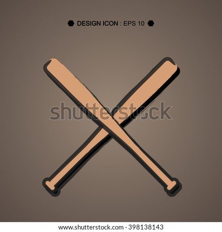 Drawing Baseball Crossed Bats Vector EPS10, Great for any use. - stock vector