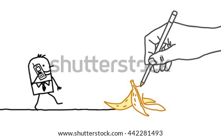 Drawing big hand and  businessman - banana peel - stock vector