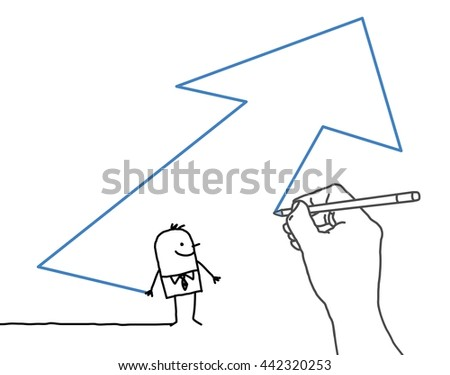 Drawing big hand and  businessman - direction arrow - stock vector