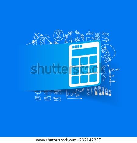 Drawing business formulas: calculator - stock vector
