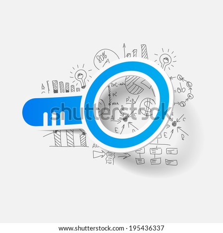Drawing business formulas: magnifier - stock vector