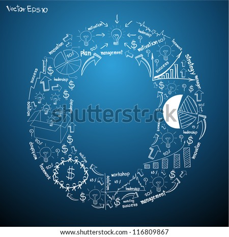 Drawing business plan concept diagrams of alphabet letters ( O ) Vector template design - stock vector