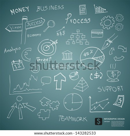 drawing business plan concept on green board - stock vector