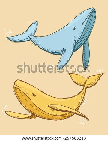 Drawing colorful doodle blue and yellow dancing whales in love in graphic vector style - stock vector