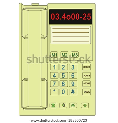 Drawing desk phone. Vector. - stock vector
