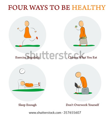 Drawing Doodle Style Infographics. Four ways to make your health better. Concept for education, medicine, training courses - stock vector