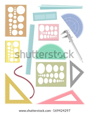 Drawing Equipment, A Collection of Geometric Rulers and and Protractor for Sketch and Draw An Architectural Drawing.  - stock vector
