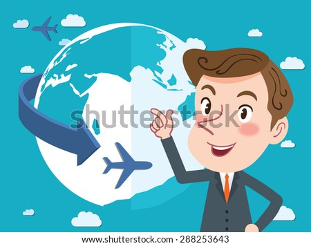 Drawing flat character design global business concept - stock vector