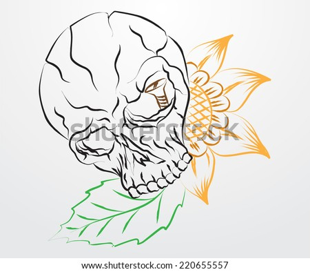 drawing floral skull - stock vector