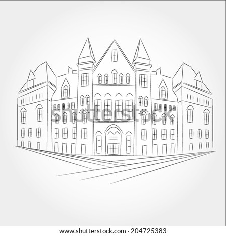 Drawing gothic style building of the old city Hall in Toronto. - stock vector
