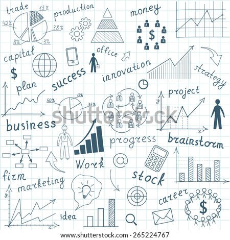Drawing graphs and charts business strategy plan concept idea on a white background. Vector illustration modern template design - stock vector