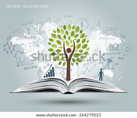 Drawing graphs and charts business strategy plan concept idea on an open book. Tree growing from an open book. Vector illustration modern template design - stock vector